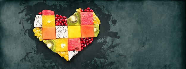 Symbole de coeur fruits concept concept food