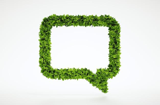 Symbole de conversation de feuille naturelle de rendu 3d isolé avec un fond blanc