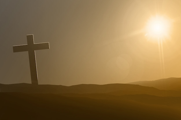 Symbole de croix sur les dunes de sable