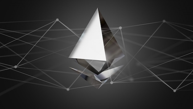 Symbole de crypto-monnaie ethereum volant autour d'une connexion réseau - rendu 3d