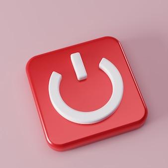 Symbole du bouton de démarrage carré sur la visualisation 3d rose