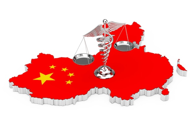 Symbole du caducée médical comme échelles sur la carte et le drapeau de la chine sur fond blanc. rendu 3d