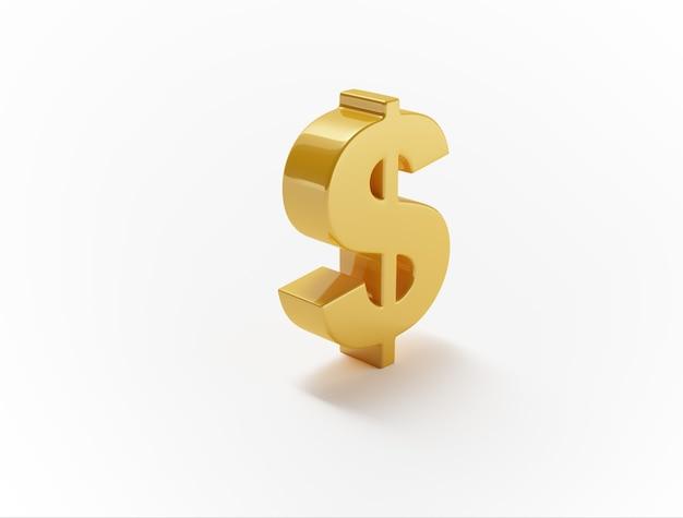 Symbole du dollar sur une surface blanche