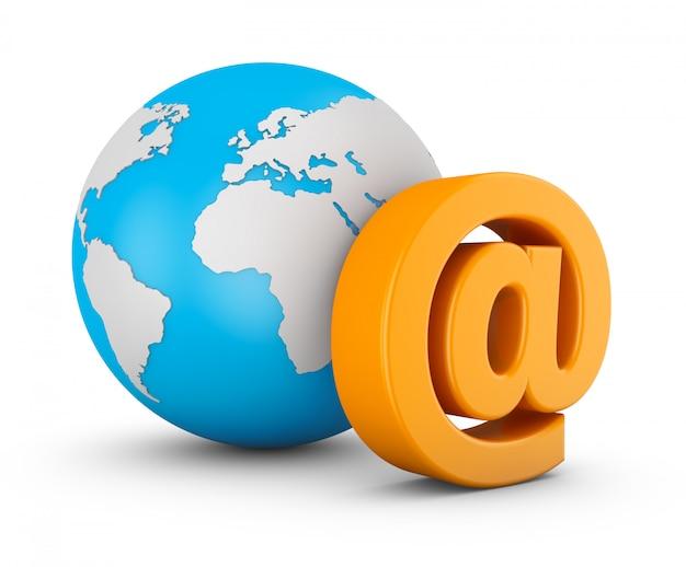 Symbole d'e-mail et globe sur fond blanc. rendu 3d.