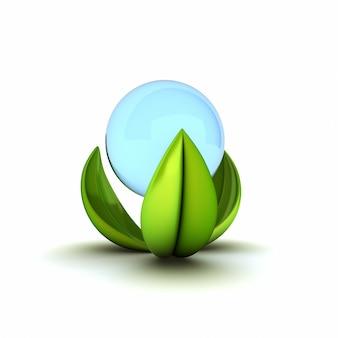 Symbole écologique abstrait avec de l'eau et des feuilles