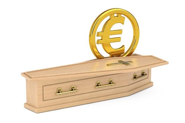 Symbole de l'euro doré dans un cercueil en bois avec croix dorée et poignées sur fond blanc. rendu 3d