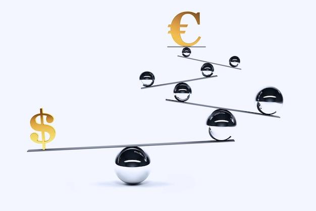 Symbole de l'euro et du dollar en équilibre