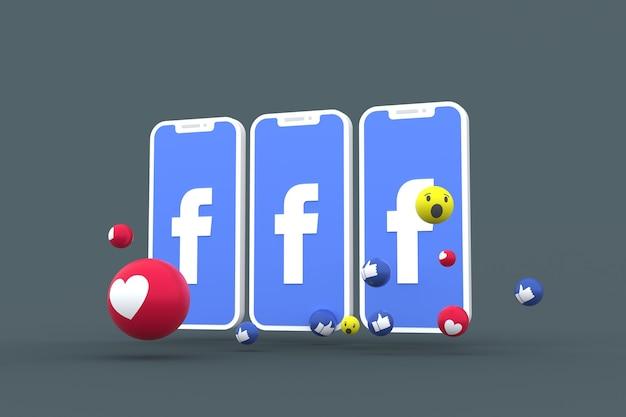 Symbole facebook à l'écran du smartphone ou des réactions mobiles et facebook amour, wow, comme le rendu 3d emoji