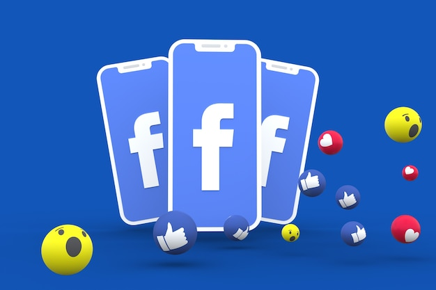 Symbole facebook sur écran smartphone ou mobile et réactions facebook 3d render