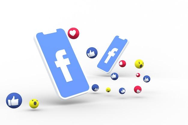 Symbole facebook sur écran smartphone ou mobile et réactions facebook amour, wow, comme le rendu 3d emoji
