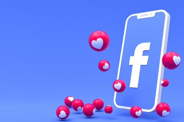 Symbole facebook sur smartphone à l'écran ou rendu 3d mobile et réactions facebook amour, wow, comme rendu 3d emoji