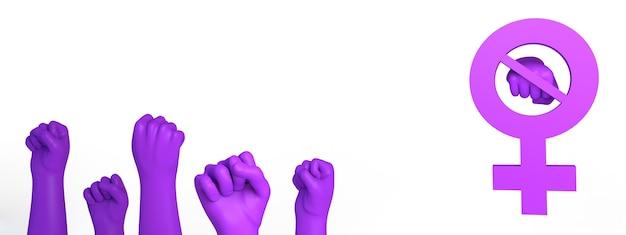 Le symbole féminin a barré le poing et les mains avec les poingsélimination de la violence contre les femmes espace de copie