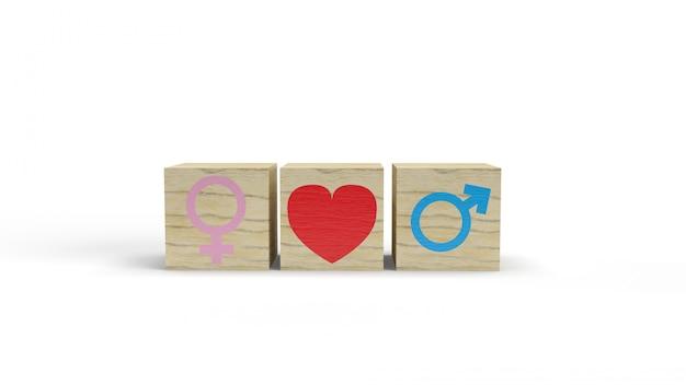 Symbole féminin et masculin avec coeur sur des cubes en bois, concept de relation hétérosexuelle