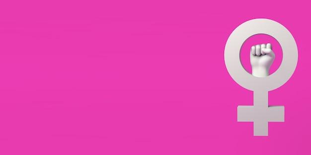 Symbole féminin et poing fermé journée internationale pour l'élimination de la violence à l'égard des femmes