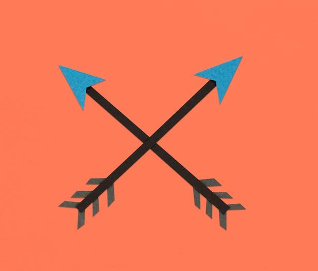 Symbole d'icône de direction de tir à l'arc croisé
