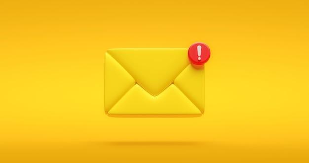 Symbole d'icône de message de notification jaune ou nouveau signe de contact de communication internet sociale de chat et informations de bulle d'illustration sur fond de conception plate avec élément multimédia simple. rendu 3d.
