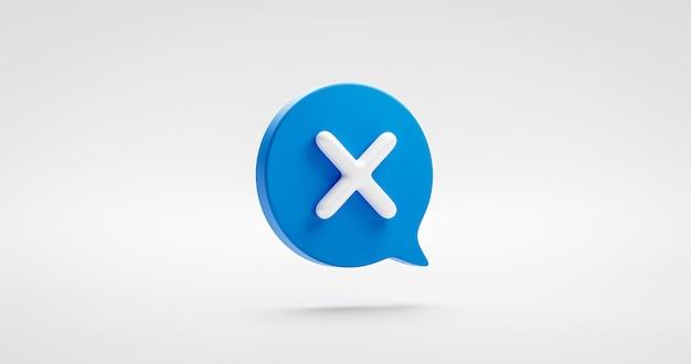 Symbole ou illustration d'icône de croix de contrôle bleu aucun signe et choix de coche mauvais élément graphique isolé sur fond d'annulation négatif avec concept de conception plate de liste de contrôle de bulle de discours. rendu 3d.