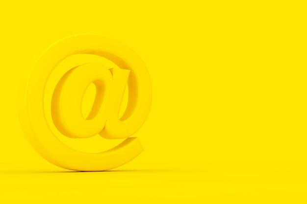 Symbole jaune at email ou internet sign in duotone style sur fond jaune. rendu 3d