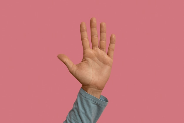 Symbole de la langue des signes isolé sur rose