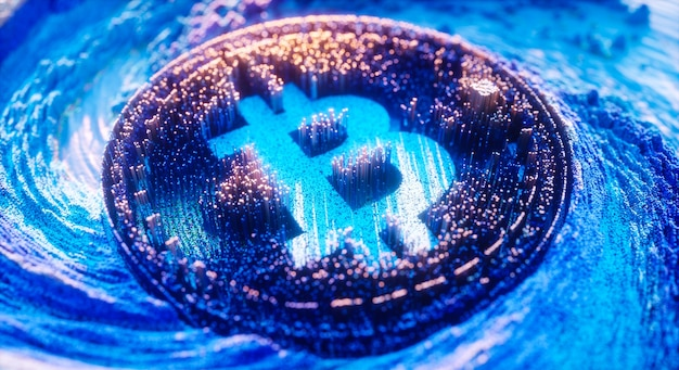 Symbole de logo bitcoin art numérique. illustration 3d futuriste de crypto-monnaie.