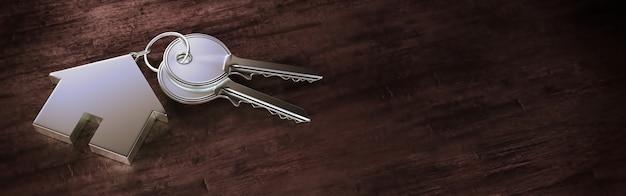 Symbole d'une maison avec clé en argent