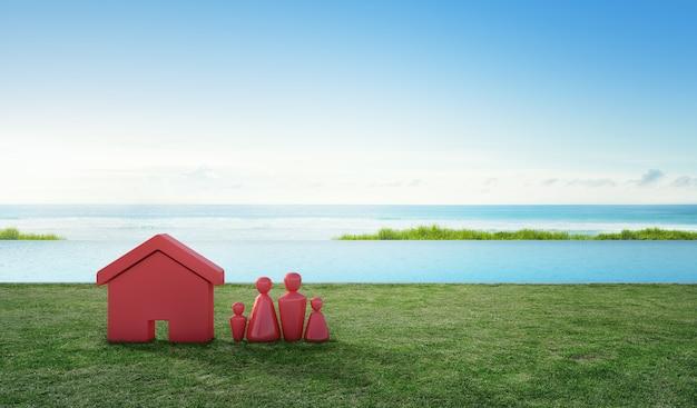 Symbole de la maison avec l'icône de personnes sur la terrasse et l'herbe verte près de la piscine.