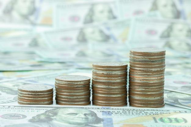 Symbole de marge de pièce de monnaie et billet de banque en dollars