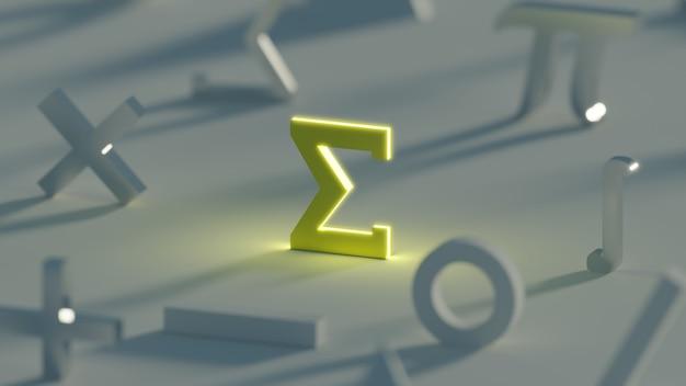 Symbole mathématique sigma jaune foncé