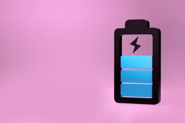 Symbole de miroir icône de batterie de téléphone illustration 3d