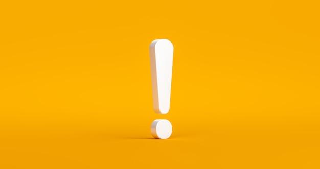 Symbole de point d'exclamation et icône de signe d'attention ou de prudence sur fond de problème de danger d'alerte avec concept de design plat graphique d'avertissement. rendu 3d.