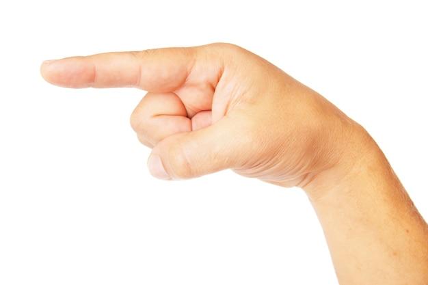 Symbole de poiting main isolé sur fond blanc
