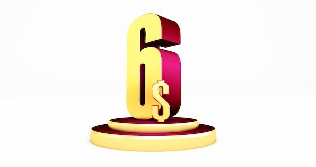 Symbole de prix or 6 dollars isolé sur fond blanc.