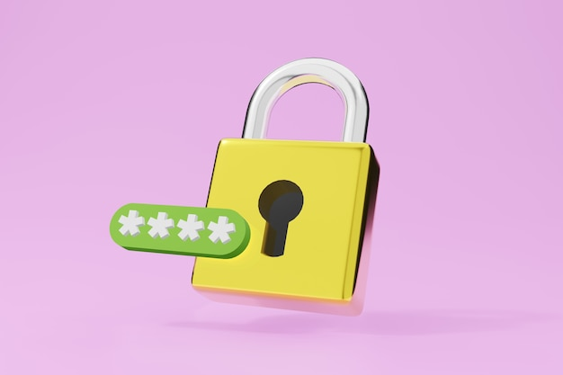Symbole de protection de cadenas en métal. illustration 3d de serrure dorée.