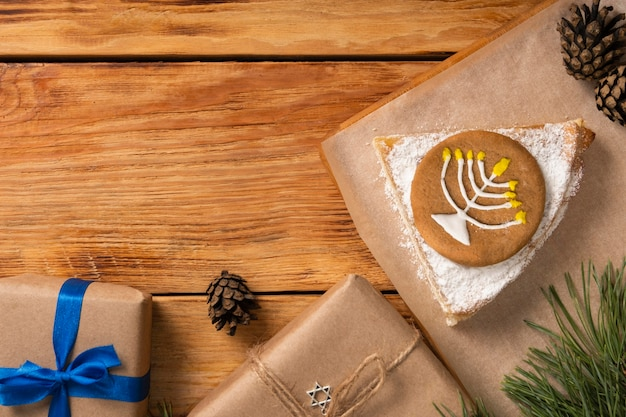 Symbole sur la tarte concept juif traditionnel de hanoucca