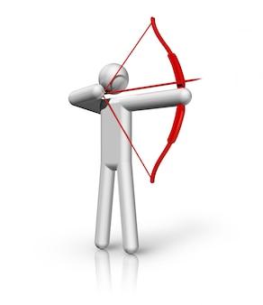 Symbole de tir à l'arc en trois dimensions