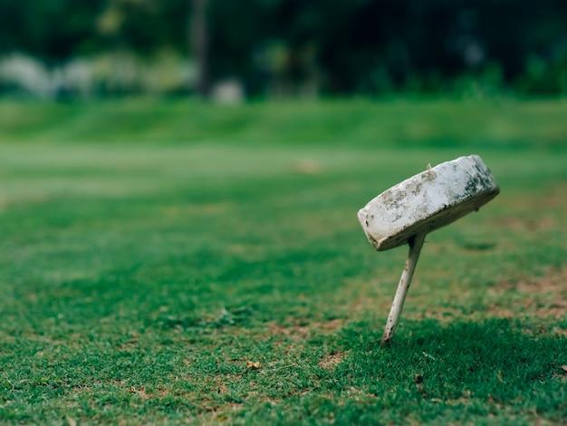 Symbole de trou de golf sur le champ vert