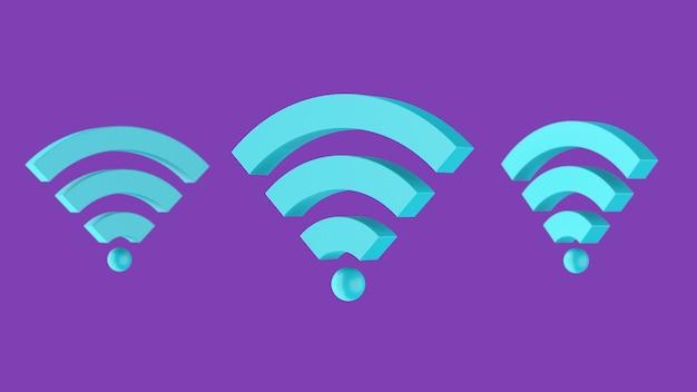 Symbole wi-fi, formes bleues, fond violet. illustration abstraite, rendu 3d.
