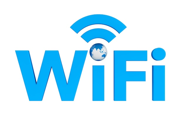 Symbole wifi bleu avec earth globe sur fond blanc
