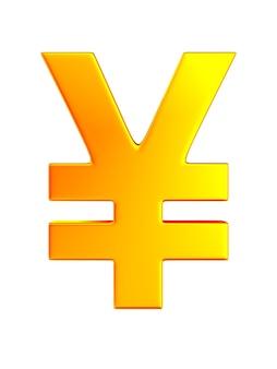 Symbole yen sur fond blanc. illustration 3d isolée