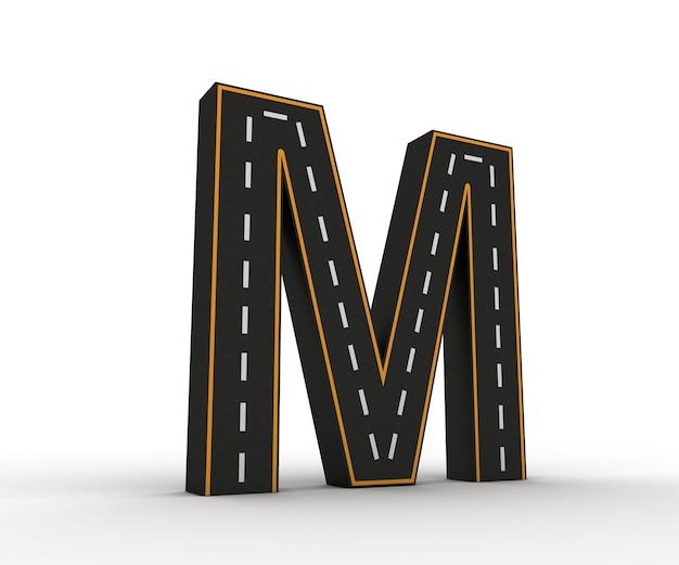 Symboles de l'alphabet des figures sous la forme d'une route avec des lignes blanches et jaunes