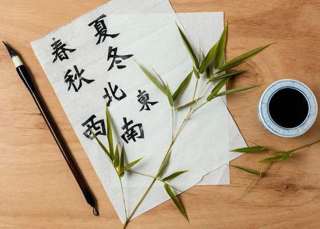 Symboles chinois écrits à l'encre sur papier blanc