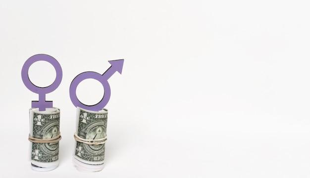 Symboles de genre sur l'espace de copie d'argent