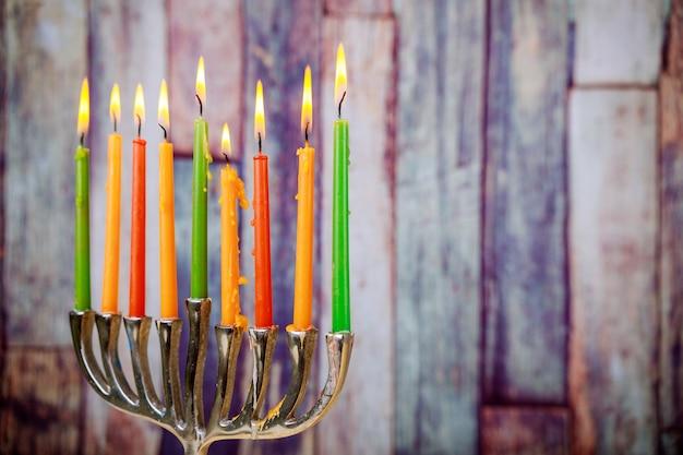 Symboles hannukah de vacances juives - menorah