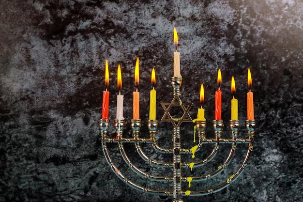 Symboles de hannukah de vacances juives - menorah