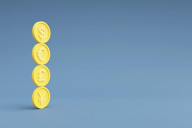 Symboles monétaires du dollar, de l'euro, de la livre et du yen