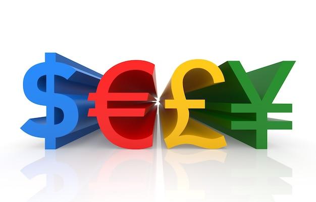 Symboles monétaires. image 3d générée numériquement. isolé sur blanc.