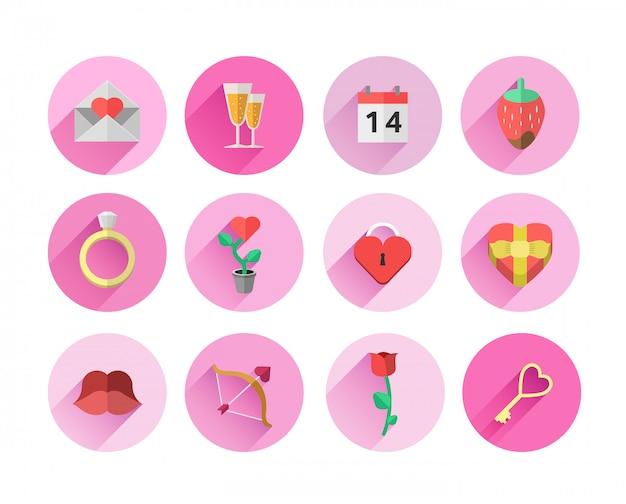 Symboles saint valentin dans les cercles roses