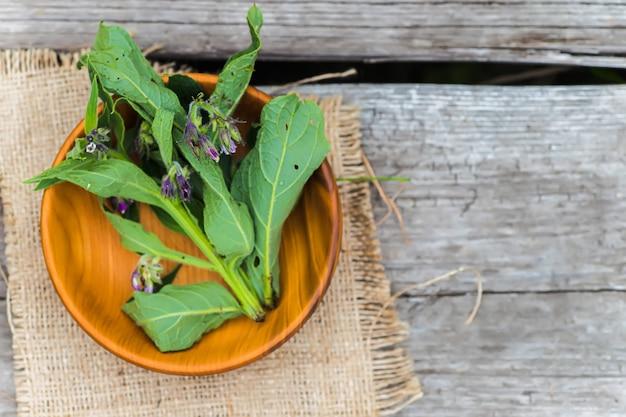 Symphytum officinale, d'autres espèces de symphytum, consoude dans une assiette écologique en bois sur une vieille table vintage. flou artistique.