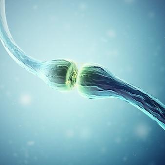 Synapse et cellules neuronales envoyant des signaux chimiques.