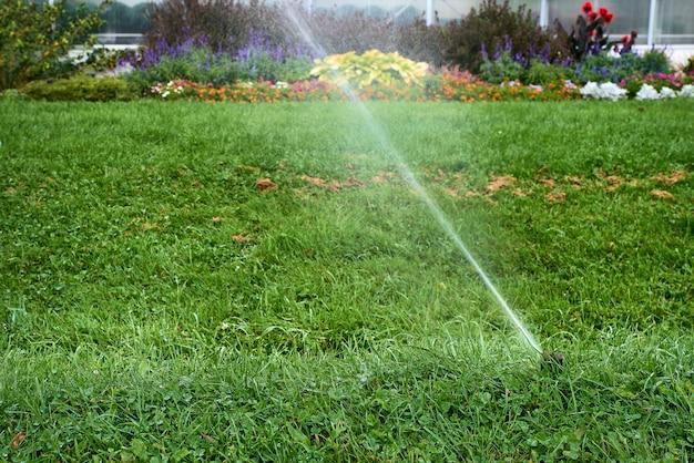 Système d'arrosage automatique arrosant la pelouse